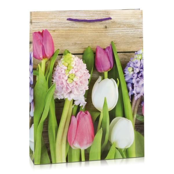 """Geschenktasche """"Frühlingsblumen auf Holz"""""""
