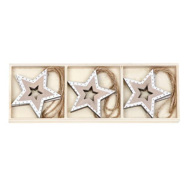 Deko-Anhänger Sterne in Holzkästchen, 9er Set