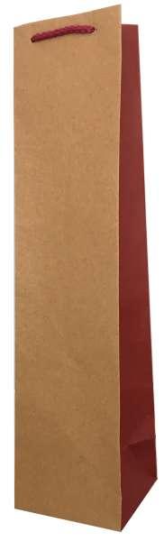 1er Papiertragetasche Bicolor Natur Bordeaux