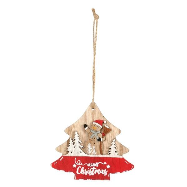 Anhänger für Geschenke zu Weihnachten Baum mit Schneemann im Wald