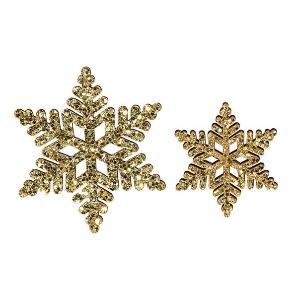 Deko-Schneeflocken Glitter Gold im Set