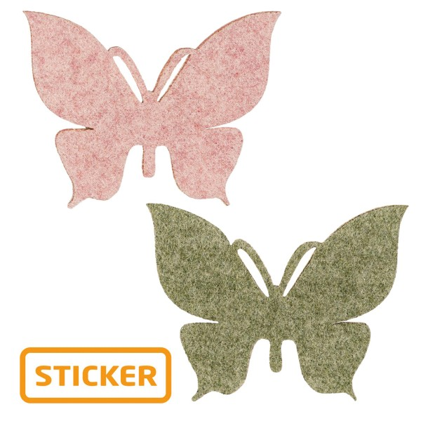 Selbstklebender Deko-Sticker Schmetterling in zwei Farben.