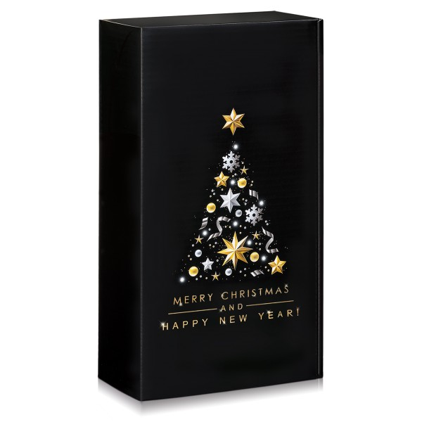 Festlicher Geschenkkarton mit Weihnachtsbaum für 2 Flaschen.