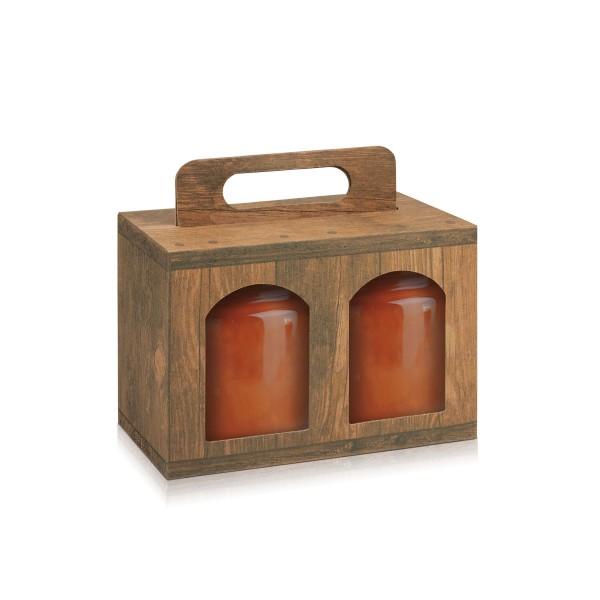 Tragekarton Vintage/Holz für zwei größere Gläser