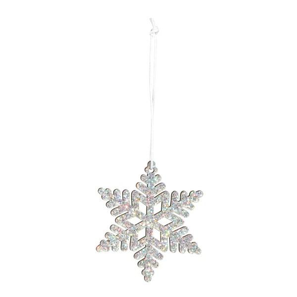Dekorativer Anhänger für Weihnachten Schneeflocke in Silber