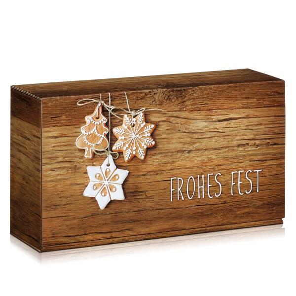 Geschenkverpackungen für Weihnachten in Holzoptik mit Lebkuchen.
