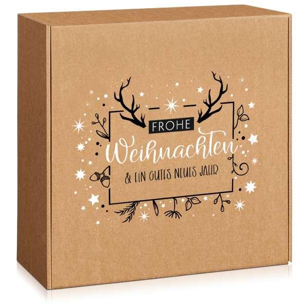 Große Geschenkbox mit weihnachtlichem Motiv.