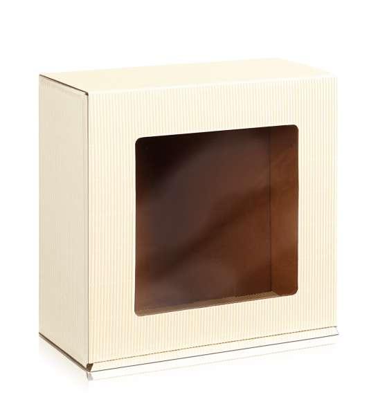 """Geschenkbox offene Welle """"Creme"""" mit Sichtfenster"""