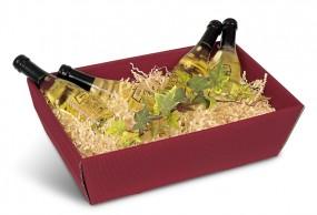 Geschenkkorb in offener Welle Bordeaux