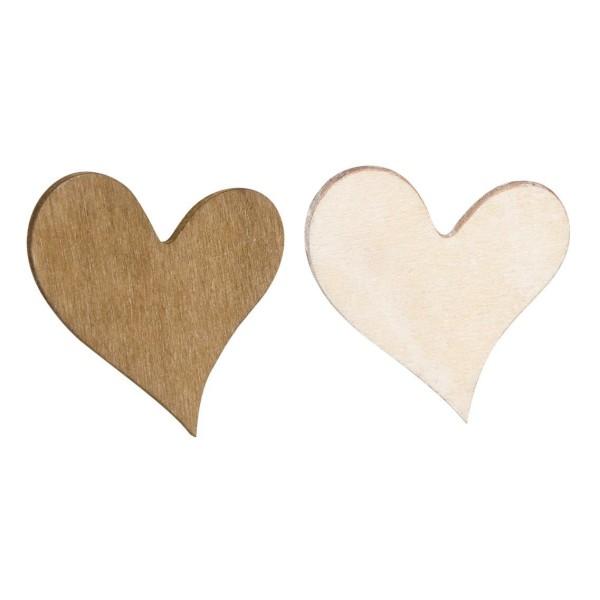 Deko-Herzen aus dunklem und hellem Holz.