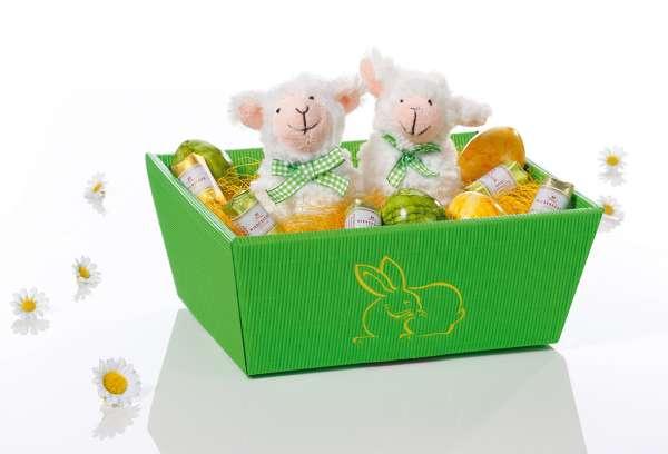 "Präsentkorb ""Hase"" in Grün aus Karton"