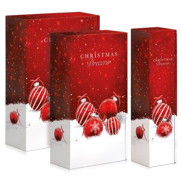 Weinkartons für Weihnachten in Rot.