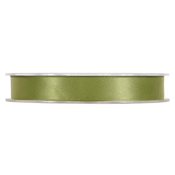 Satinband in Grün/Oliv, 15 mm breit.