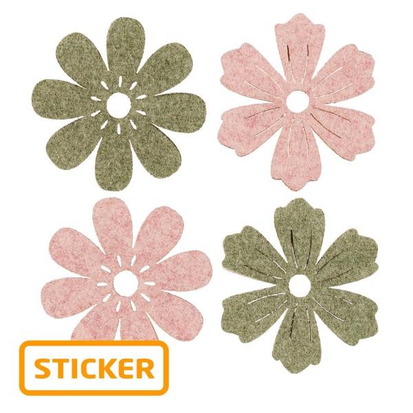 Selbstklebender Deko-Sticker Blüte in zwei Formen und Farben.