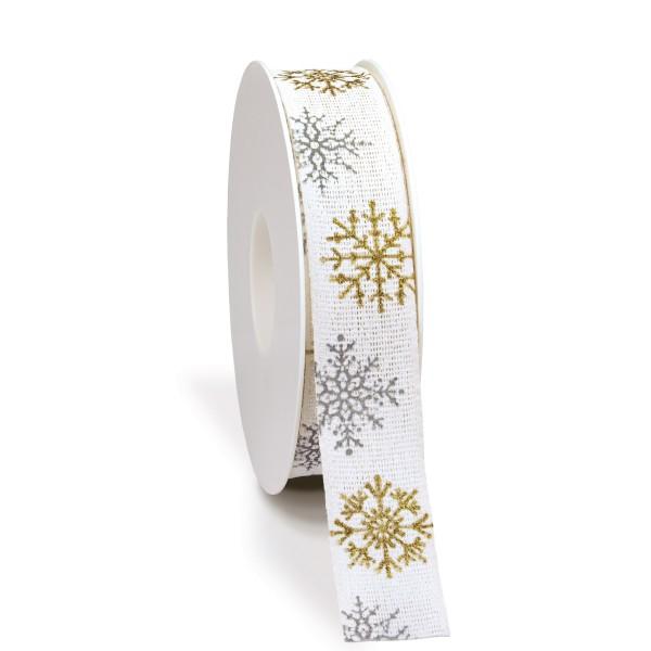 Weihnachtsband in Weiß mit Schneeflocken.