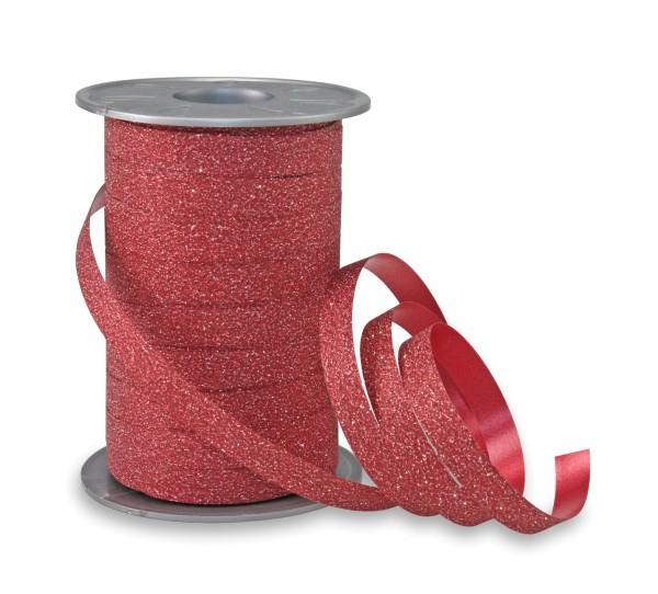Geschenkband Glitter in Rot zum Ringeln