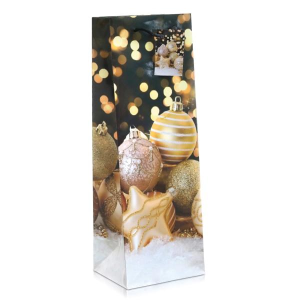 Flaschentüte mit Baumkugelmotiv für Weihnachten.