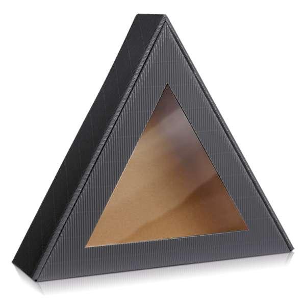 Dreieckige Geschenkbox in offenere Welle Anthrazit und mit Sichtfenster.