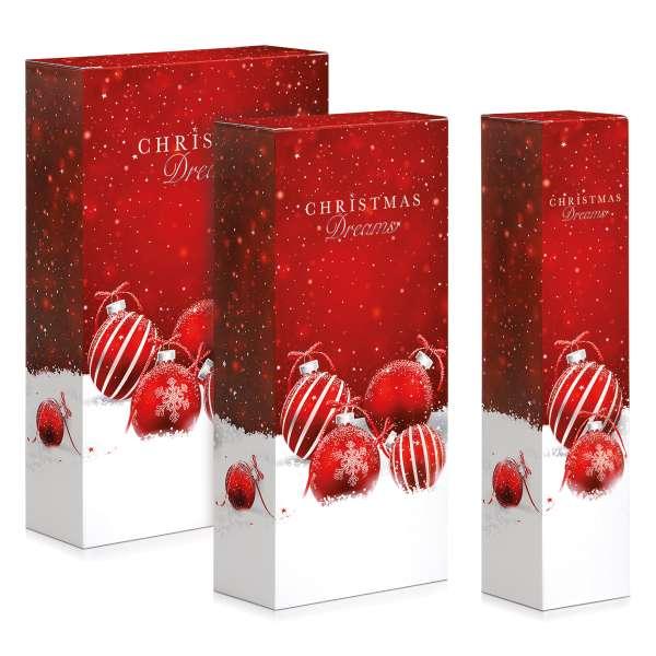 Verpackungen für Weinflaschen zu Weihnachten.