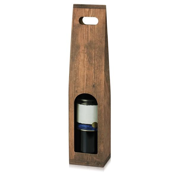 Tragekarton Vintage/Holz für Weinflasche
