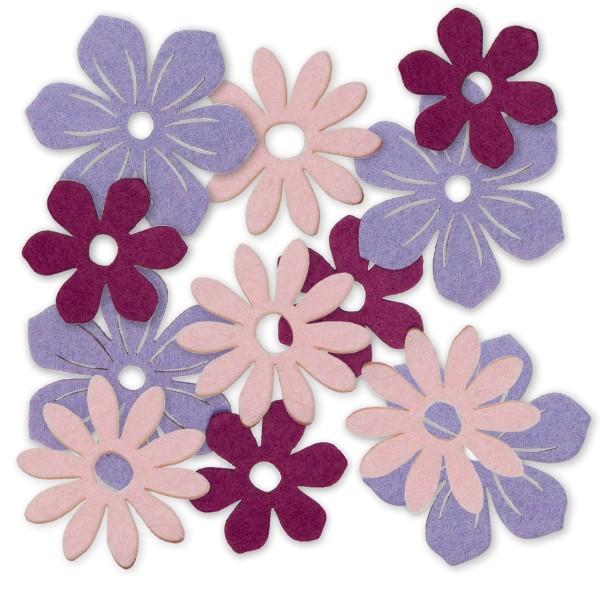 Blüten aus Filz als Deko für Frühling und Sommer.