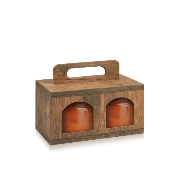 Tragekarton Vintage/Holz für zwei kleinere Gläser
