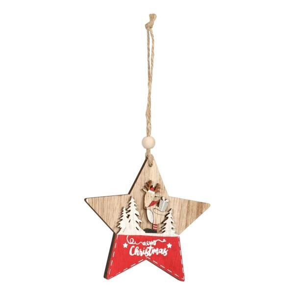 Anhänger für Geschenke zu Weihnachten Stern mit Elch im Wald