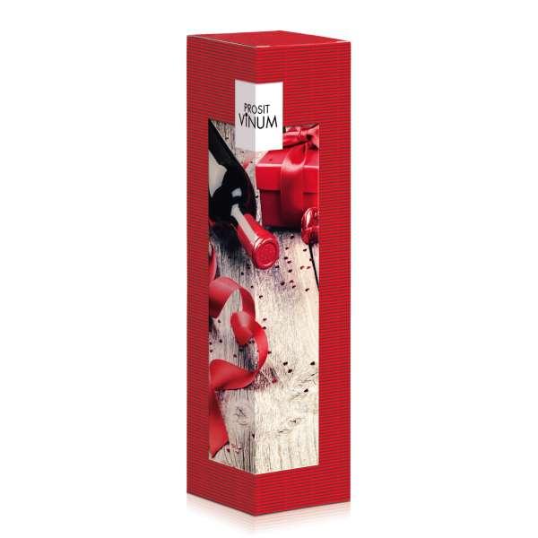 Rote Geschenkverpackung für Wein.