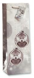 Papiertragetasche Baumkugeln Silber für 1 Flasche