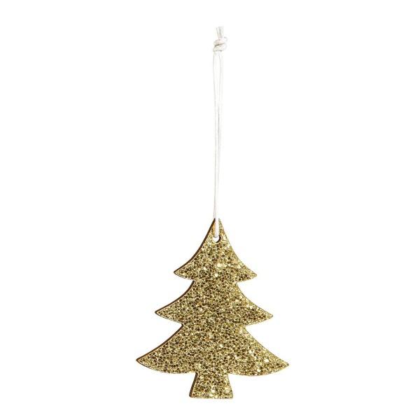 Deko-Anhänger Tannenbaum Glitter Gold