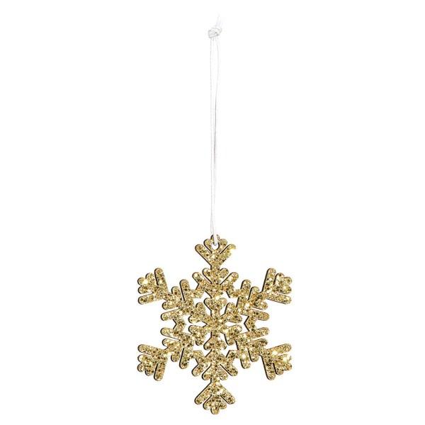 Dekorativer Anhänger für Weihnachten Schneeflocke in Gold