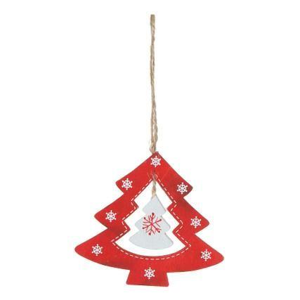Deko-Anhänger Weihnachtsbaum Rot-Weiß aus Holz