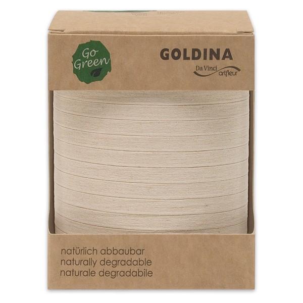 Ringelband Baumwolle in Natur-Weiß.