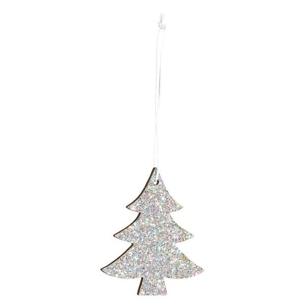 Deko-Anhänger Tannenbaum Glitter Silber