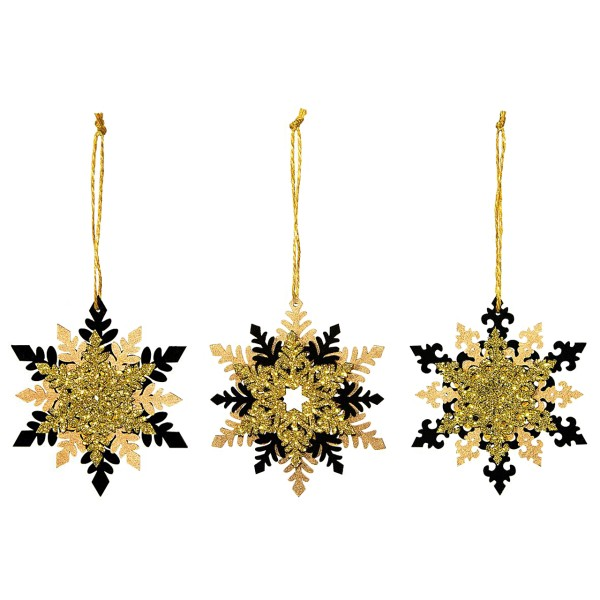 Dekoanhänger für Weihnachten in Form von Schneeflocken.