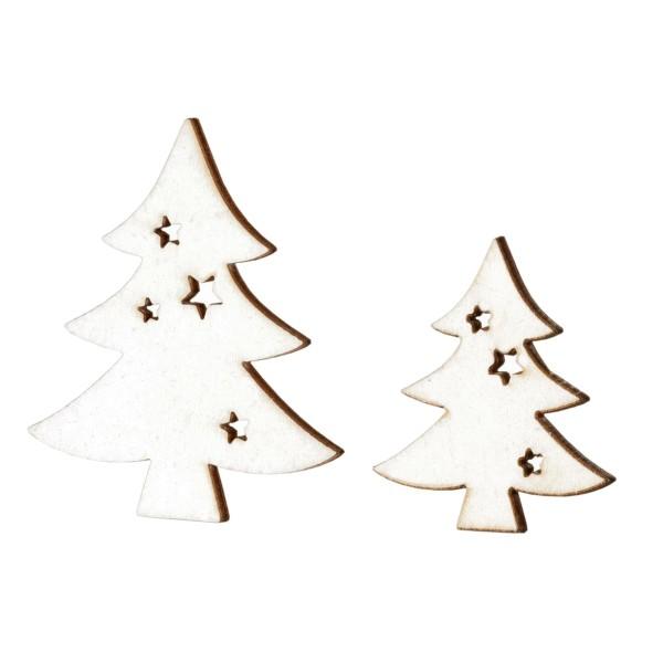 Deko-Weihnachtsbäume in Weiß, aus Holz