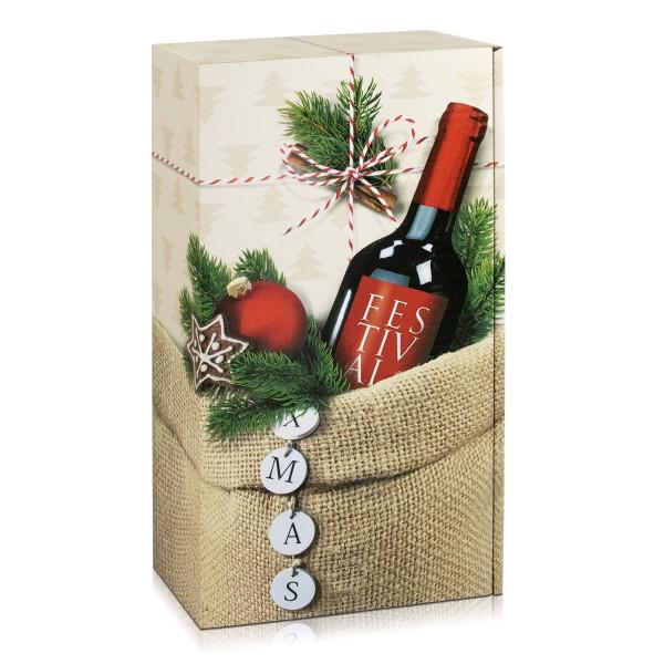 """Geschenkverpackung 2er Weinkarton für Weihnachten """"XMAS"""""""