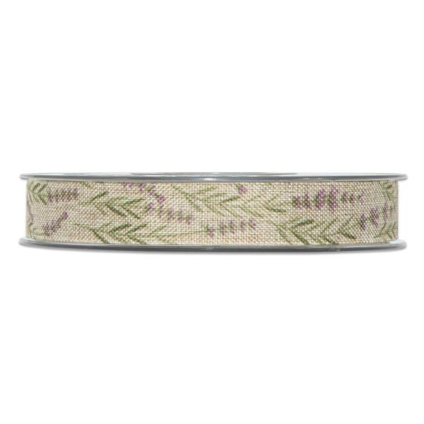 """Geschenkband """"Lavendel"""" in Natur, 15 mm breit."""