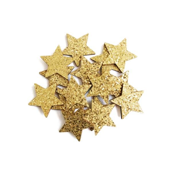 Kleine, dekorative Sterne mit Glitzer in Gold für Weihnachten.