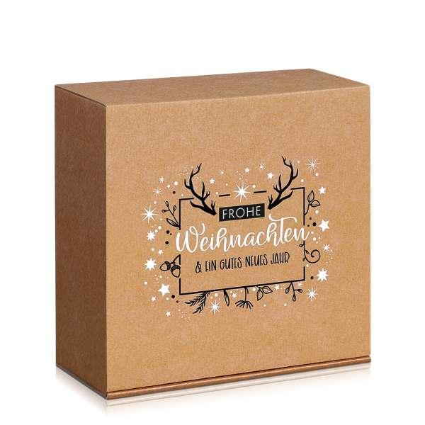 Geschenkbox mit weihnachtlichem Motiv.