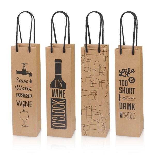 Tragetaschen für Weinflaschen mit witzigem Design