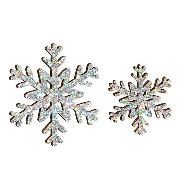 Deko-Schneeflocken Glitter Silber im Set