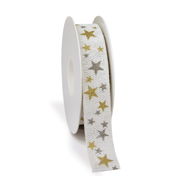 Geschenkbänder mit Sternen für Weihnachten.