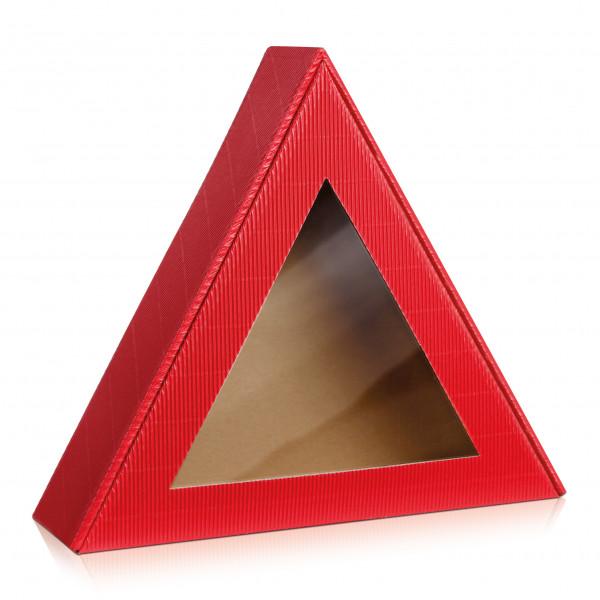 """Geschenkbox """"Dreieck"""" offene Welle Rot"""