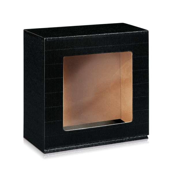 Geschenkbox mit Fenster in Schwarz.
