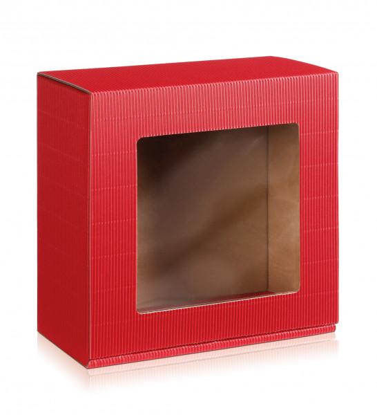 """Geschenkbox offene Welle """"Rot"""" mit Sichtfenster"""