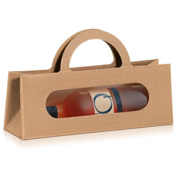 Tragetasche für eine Weinflasche liegend in Natura mit Sichtfenster.