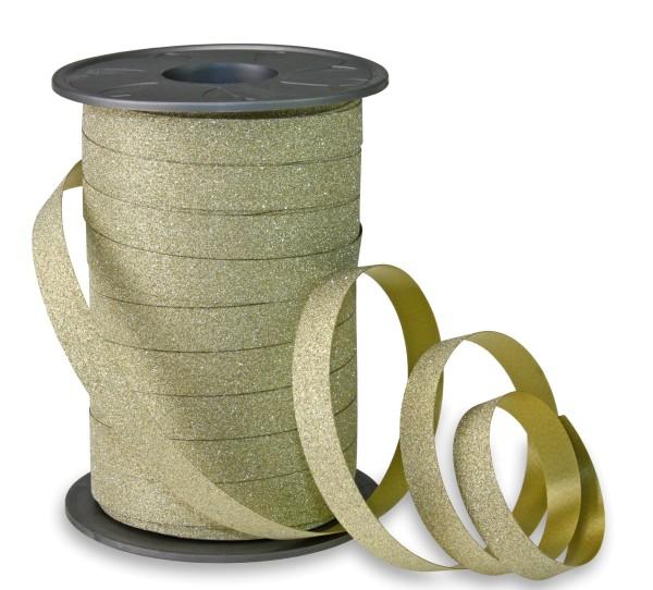 Geschenkband Glitter in Gold zum Ringeln