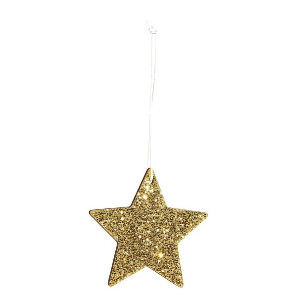 Dekorativer Anhänger für Flaschen zu Weihnachten Stern in Gold