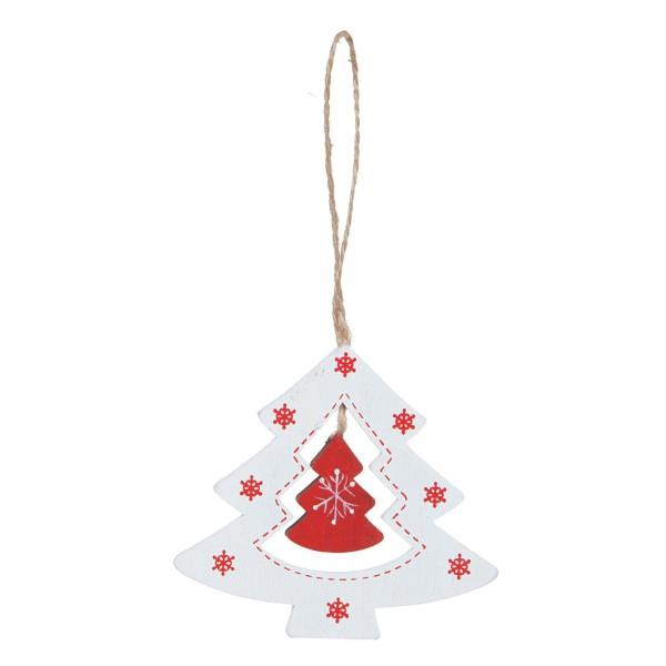 Geschenkanhänger für Weihnachten Weihnachtsbaum Weiß-Rot